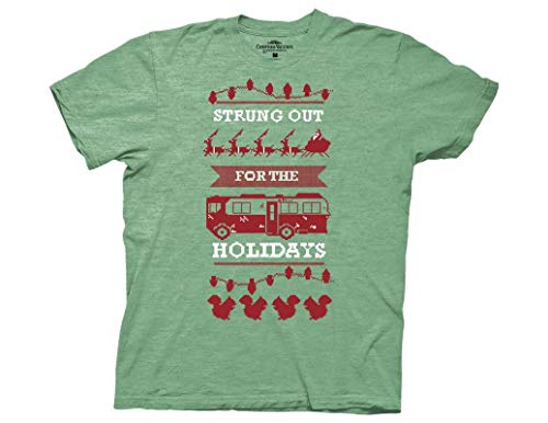 Ripple Junction National Lampoon's Christmas Vacation Adult Unisex Strung Out for Holidays Light Weight Crew T-Shirt MD Heather - Out T-shirt Strung