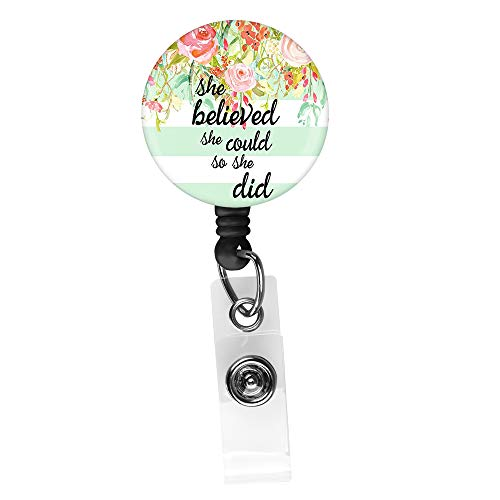 - She Believed she Could so she did Retractable ID Card Badge Holder with Alligator Clip, Name Nurse Decorative Badge Reel Clip on Card Holders