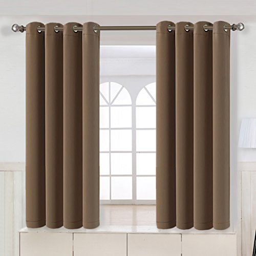 Maevis Blackout Curtains 2 Panels for Bedroom Window Treatment Thermal Insulated Solid Grommet Blackout Drapes for Living Room (Coffee, 52*63inch)