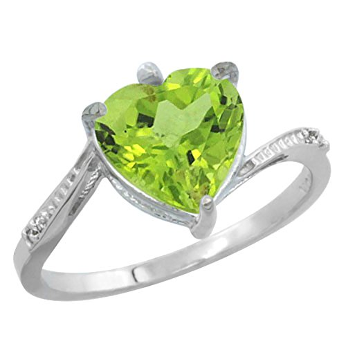 14K White Gold Natural Peridot Ring Heart 9x9mm Diamond Accent, size5.5