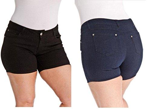 1826 Womens Premium Plus Size Dark Blue/Black Denim Jeans Short Stretch Ps-481