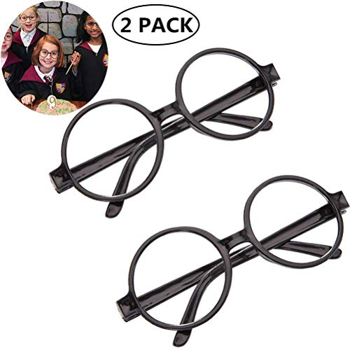 Kids Wizard Nerd Round Black Frame Glasses Retro No Lens for Christmas Costume Party Cosplay Supplies Age 4-12(2 Pack)]()