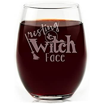 fa88d0c5646 Amazon.com | BarConic Drink Up Witches Halloween Stemless Wine Glass ...