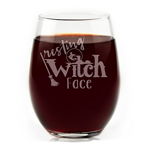 Funny Resting Witch Face Engraved Stemless Wine Glass