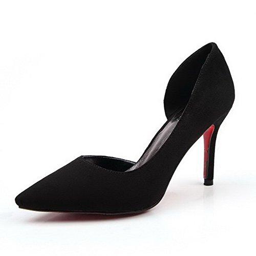Aalardom Womens Pull-on Puntschoen Hoge Hakken Stevige Pumps-schoenen Zwart