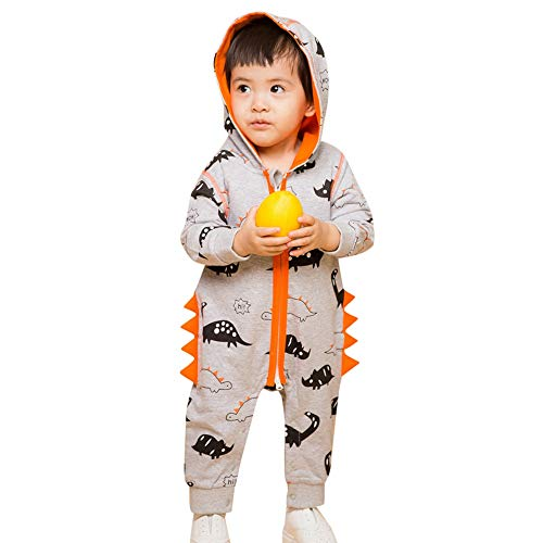 Hatop Infant Baby Girls Boys Outfits Long Sleeves Dinosaur Zipper Hooded Romper Jumpsuit Outfits Clothes (Gray, 12-18 Months) ()
