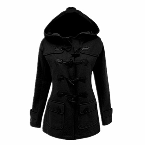 ForeMode Womens Winter Duffle Coat Thick Hooded Jacket(Black L)