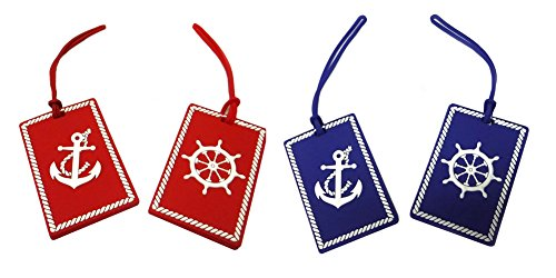 Nautical Anchor & Ship's Wheel Luggage Tags (Set of Four) Beach Theme Luggage Tag
