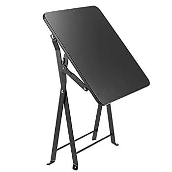 Finnhomy Small Square Folding Side End Table Sofa Table Tray Side Table Snack Table Metal Anti-Rusty Outdoor and Indoor Use for Little Stuff Multi-use Black