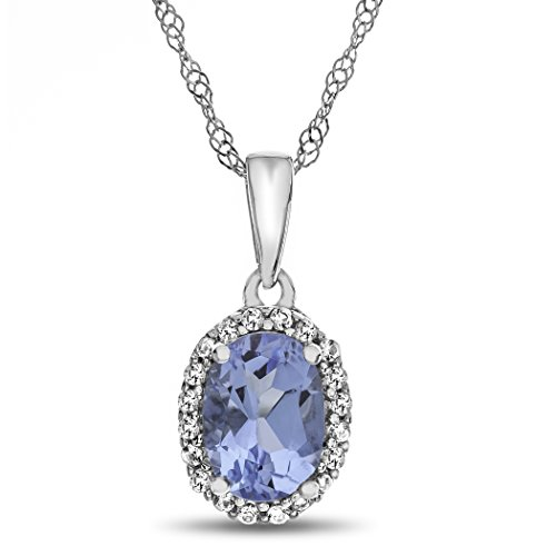 te Gold 7x5mm Oval Simulated Aquamarine with White Topaz accent stones Halo Pendant Necklace ()