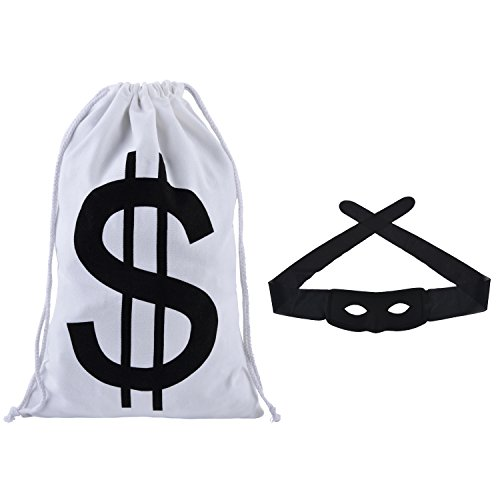 FunPa Robber Mask, Burglar Costume Robber Thief Costume Cosplay Masquerade Bandit Mask Carnival with Black Eye Mask + Money Bag for Children's Day, Birthday Toy Party -