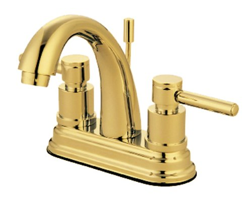 Kingston Brass KS8612DL Concord Twin Brass Handle 4-Inch Lavatory Faucet, Polished Brass