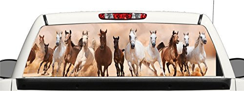Horse Rear Window - avgrafx Truck SUV Running Horses Rear Window Graphic Decal Perforated Vinyl Wrap (22x66 Inches)
