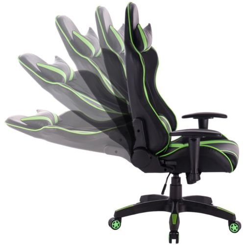 41xW3ZcaRmL - PU-Leather-High-Back-Office-Desk-Race-Car-Seat-Racing-Gaming-Chair-360-Swivel-Green-FREE-E-Book
