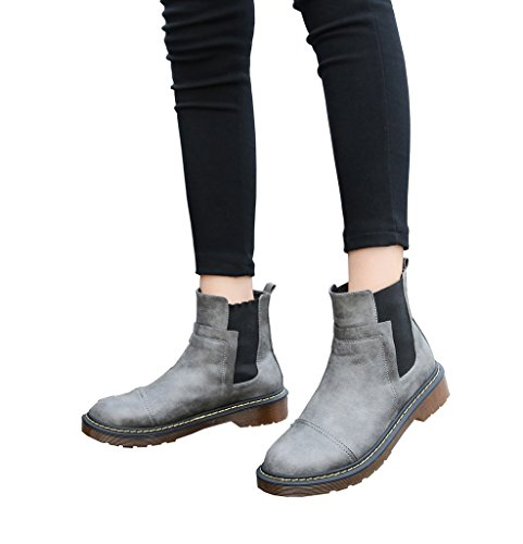 Ankle Toe Booties Elastic Heel 25grey Flat Side Round Low Boots Women's CAMSSOO q8xXwZ