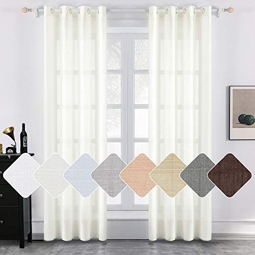 (MIULEE 2 Panels Natural Linen Semi Sheer Window Curtains Elegant Solid Ivory Drapes Grommet Top Window Voile Panels Linen Textured Panels for Bedroom Living Room (52X90 Inch) )