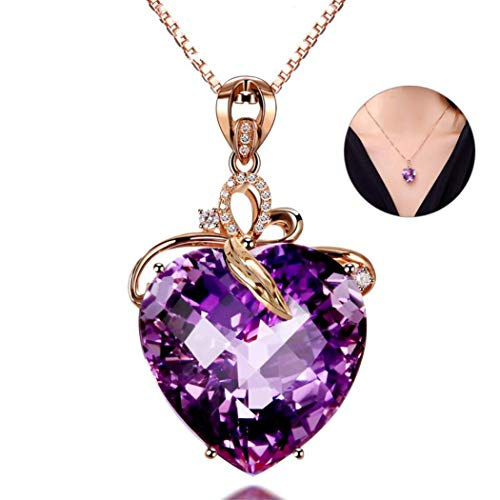 LimiFas 1 PC Rose Gold Heart-Shaped Natural Purple Amethyst Pendant Necklace Fashion Jewelry