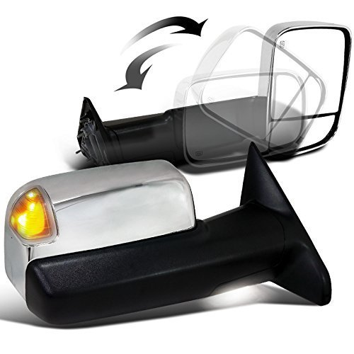 Scitoo Chrome Side Mirrors For 2010-2017 Dodge Ram 1500 2500 3500 2011-12 Ram 1500 2500 3500 Driver Passenger Power Heated Turn Signal Puddle Light Towing Mirror Pair Set