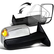 Scitoo Chrome Side Mirrors For 2010 Dodge Ram 1500/2500/3500 2011-12 Ram 1500/2500/3500 Driver/Passenger Power Heated Turn Signal Puddle Light Towing Mirror Pair Set