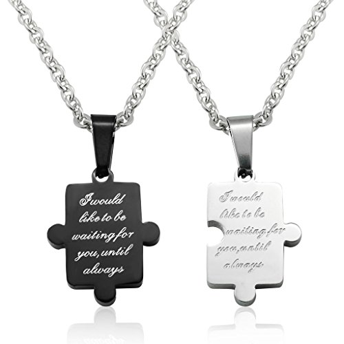 Jstyle Bijoux Collier en Acier Inoxydable Puzzle Collier Amoureux Couple  Homme/Femme Cadeau Saint,Valentin , 55 cm de longueur Amazon.fr Bijoux