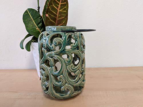 - SPIhome Ceramic Vine Lantern - Blue