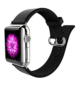 Apple Watch Band 38mm for Women, iWatch Band Leather Strap Replacement for Apple Watch with s/s Metal Clasp - Black
