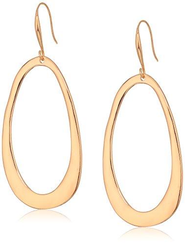 Robert Lee Morris Women's Rose Gold Hammered Gypsy Hoop Drop Earrings, One Size