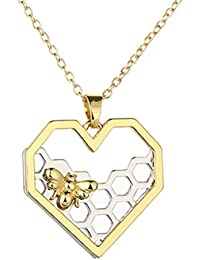 Fashion Honeycomb Bee Pendant Necklace Jewelry Women Party Prom Gift