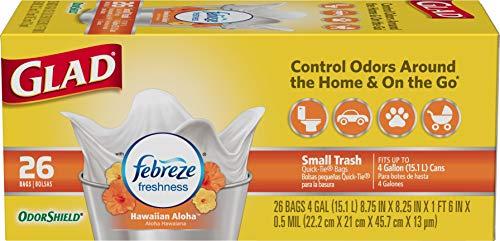 Glad Small Trash Bags - OdorShield 4 Gallon White Trash Bag, Febreze Hawaiian Aloha - 26 Count (Pack of 6)