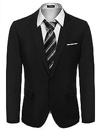Hasuit Mens Slim Fit Casual One Button Blazer Jacket Fashion Suit Coat