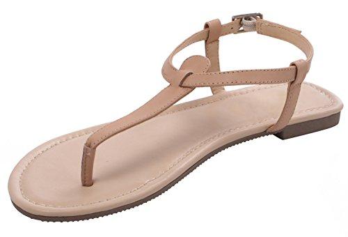 ABUSA Women's Fashion Thin Adjustable Nude Leather Flat Sandal Size 11 US