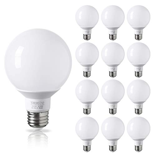 - TORCHSTAR 12 Pack - UL & Energy Star Listed - 5W 40W Equiv. G25 LED Bulb, Globe Vanity Light, 2700K Soft White, Medium E26 Base, Omnidirectional Bulb for Bath, Pendant, Dressing Room & Vanity Strip