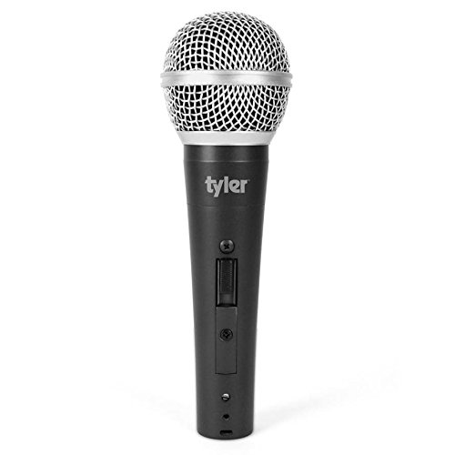 Tyler TMS305-SL Professional Moving Coil Dynamic Vocal Handheld Microphone - Cardioid Unidirectional Handheld Mic - XLR Connection with On/Off Switch - Silver