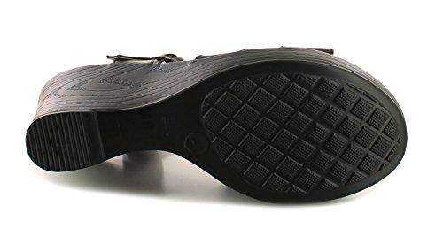Platino Mujer/Mujer Negro Tira Cruzada Sandalias Cuña Con Cuero Calcetines - Negro - GB Tallas 3-8