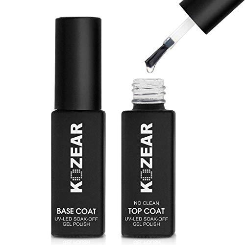 KOZEAR Base and Top Coats Gel Nail Polish Box Set 2 UV LED Nail Polish Manicures
