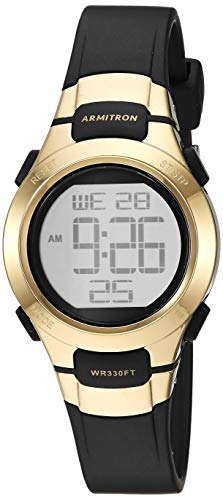 Armitron Sport Women's Quartz Sport Watch with Resin Strap, Black, 12 (Model: 45/7012GBK)
