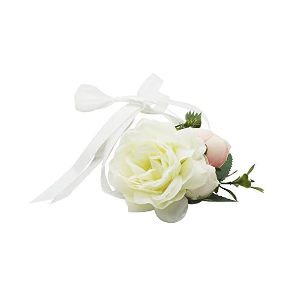 Lovful Pack of 2 Big Flower Bridesmaid Corsage Wedding Wrist Corsage Party Prom Hand Flower Wristband,White