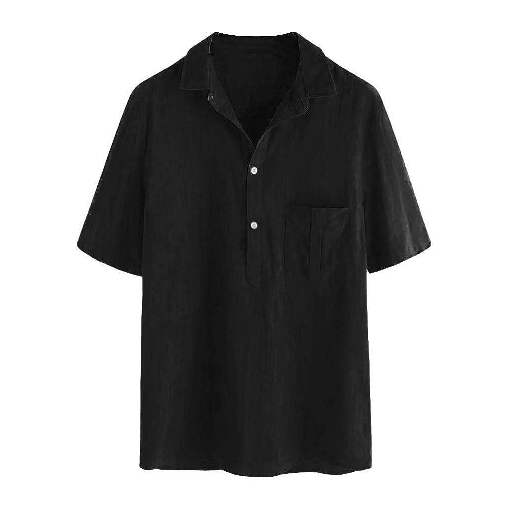 Polo Shirt for Men F/_Gotal Mens T-Shirt Fashion Summer Short Sleeve Stripe Button Cotton Linen Casual Tees Blouse Tops