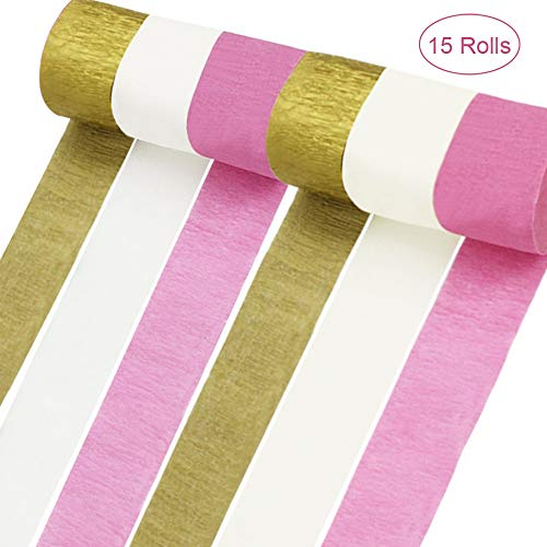15 Rolls 82ft Crepe Paper Streamers Gold White Pink 3 Color Crepe Paper Party Streamers For Birthday Party, DIY handicrafts, Baby Shower, Wedding Ceremony, Thanksgiving, Christmas Decoration -