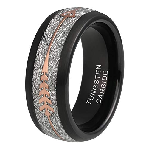 iTungsten 8mm Tungsten Rings for Men Women Wedding Bands Meteorite Arrow Inlay Black/Silver/Gold/Rose Gold Comfort - Band Wedding Inlay Black