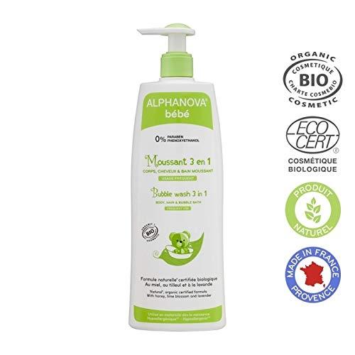 Alphanova, Baby Bubble Bath, 3 in 1 - Body Wash, Shampoo and Bubble Bath, Hypoallergenic, Does Not Sting the Eyes - Organic (500ML/17oz) ()