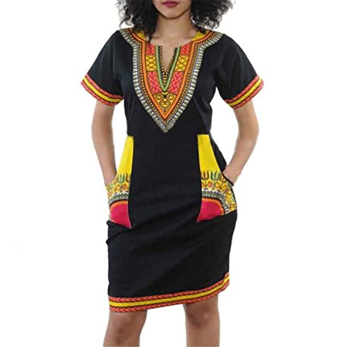 Women Dress,Haoricu Women Sexy V-collar Ethnic Style Print Casual Short Sleeve Dress (L, (Print Short Sleeve Skirt)