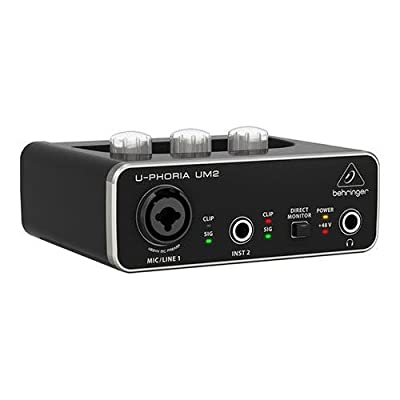 Behringer U-Phoria UM 2 Audiophile 2x2 USB Audio Interface with XENYX Mic Preamplifier - With 6' 8mm XLR Microphone Cable, Micro Fiber Cloth from Behringer