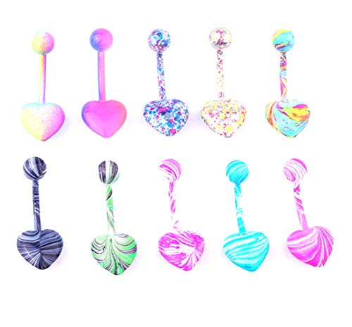 Zaya Body Jewelry 10 Pack Belly Button Naval Rings Painted Heart Stainless Steel 14g 5/8