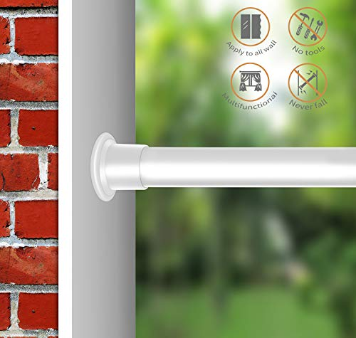 er Window Curtain Rod,42-81 Inches, Never Collapse,No Drilling, NEVERRUST ()