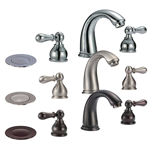FREUER Colletto Collection: Classic Widespread Bathroom Sink Faucet, Polished Chrome ()