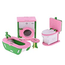 Dovewill Birthday Gift Wooden Doll House Miniature Family Children Bathroom Furniture Set Toys