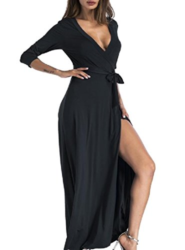 Evening Women Nightclub Neck 3 Sleeve 4 Black Coolred Split Dress SexyFashion V dpwzqxfCg
