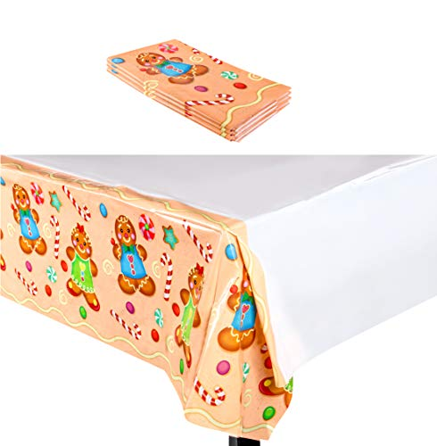 Christmas Plastic Tablecloth - 3-Pack 54 x 108-Inch Rectangular Disposable Table Cover, Perfect for Holiday Buffet Banquet or Picnic Tables, Festive Gingerbread Design, Beige and White, 4.5 x 9 Feet]()