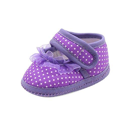 BOBORA Suave Inferior Antideslizante Zapatos De Bebe Andador Con Hilo Dot purpura
